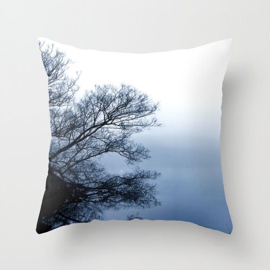 Swans in the Mist Throw Pillow