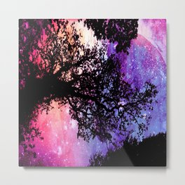 Black Trees Pink Purple Space Metal Print