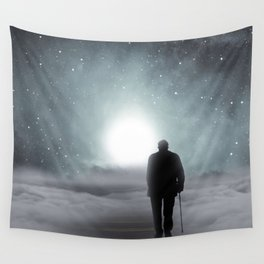 Old Man Walking Towards Heaven Wall Tapestry