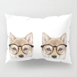 Shiba inu with glasses Dog illustration original painting print Pillow Sham