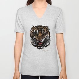 Tiger Face (Signature Design) Unisex V-Neck