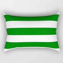Christmas green - solid color - white stripes pattern Rectangular Pillow
