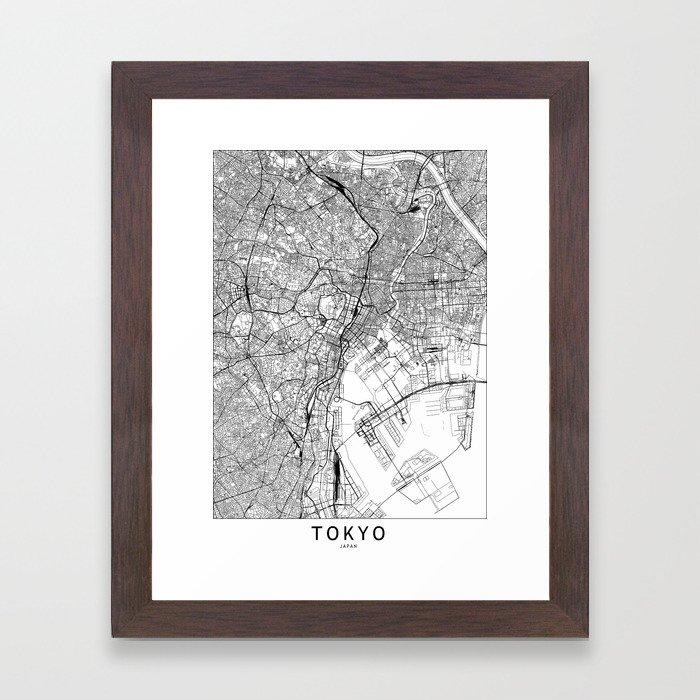 Tokyo White Map Framed Art Print