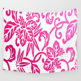 Pink White Ombre Japanese Leaf Pattern Wall Tapestry