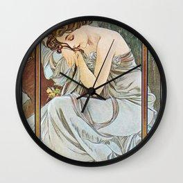 Alphonse Mucha Nocturnal Slumber Wall Clock