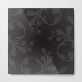 Venetian Damask, Ornaments, Swirls - Gray Black Metal Print