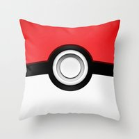 pokeball Throw Pillows featuring POKEBALL by Smart Friend