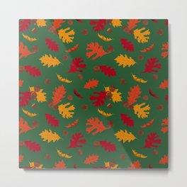 Fall Leaves and Acorns on Green Metal Print