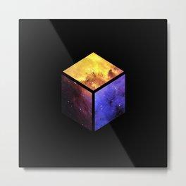 Nebula Cube - Black Metal Print