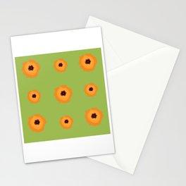 Orange kalanchoe blossoms pattern illustration on green Stationery Cards