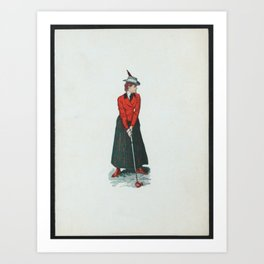 Golf lady in red Art Print