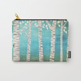 Turquoise birch forest Carry-All Pouch