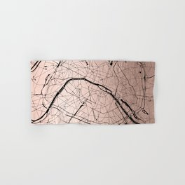 Paris France Minimal Street Map - Rose Gold Glitter on Black Hand & Bath Towel