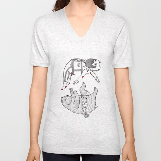 On the bear's uncontrollable urge to toss his master in the air Unisex V-Neck