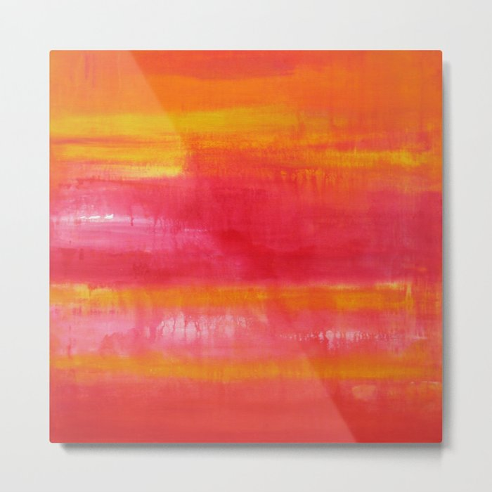'Summer Day'  Orange Red Yellow Abstract Art Metal Print