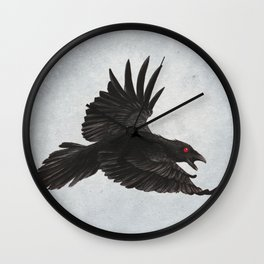 Black Crow Red Eyes and Sky Wall Clock