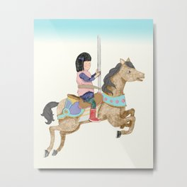 Merry-Go-Round: Girl with Red Boots on a Carousel Metal Print