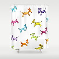 puppies Shower Curtains featuring Balloon Puppies by Pooster the Bear