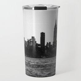 New York City Skyline in Black & White Travel Mug