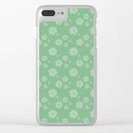 Green Succulent Rosettes Organic Pattern - Floral Line Drawing Clear iPhone Case