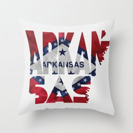 Arkansas Typographic Flag Map Art Throw Pillow