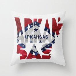 Arkansas Typographic Flag Map Art Throw Pillow