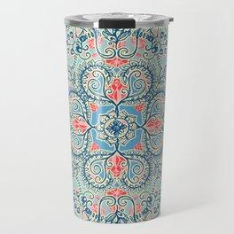 Gypsy Floral in Red & Blue Travel Mug