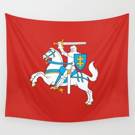 State Flag of Lithuania Knight On Red Wall Tapestry