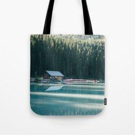 Lake Louise Canoes Tote Bag