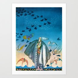 'Flock of Birds and Wild Flowers' magical realism portrait painting by Kay Nielsen Art Print