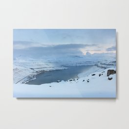 Winter by the fjord Metal Print