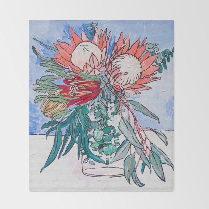 Painterly Vase of Proteas, Wattles, Banksias and Eucayptus on Blue Throw Blanket