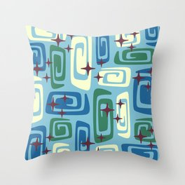 Mid Century Modern Cosmic Galaxies 728 Blue Green and Cream Throw Pillow