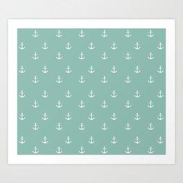 Maine Blue Anchor Print Art Print