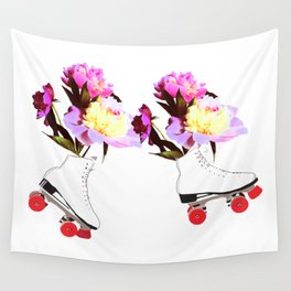 Peony Flowers on Roller skates Wall Tapestry