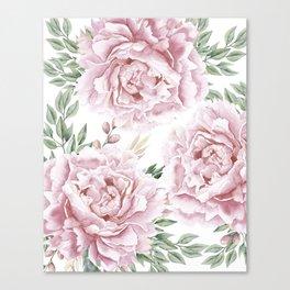 Pretty Pink Roses Flower Garden Canvas Print