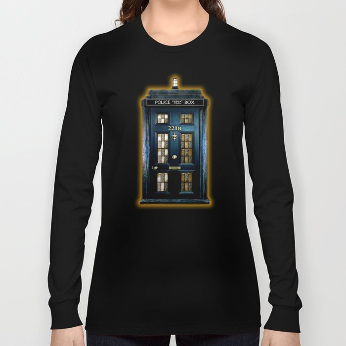 Tardis doctor who Mashup with sherlock holmes 221b door Long Sleeve T-shirt
