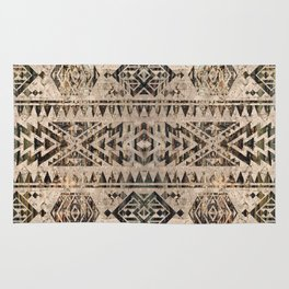 Ethnic Geometric Bark and Wood texture pattern Rug