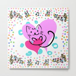 The musical cat design Metal Print