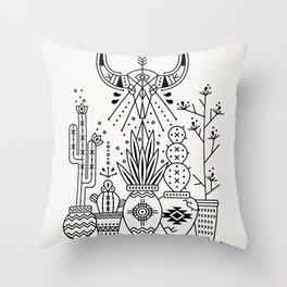 Santa Fe Garden – Black Ink Throw Pillow