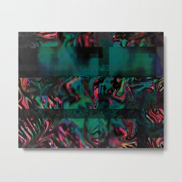 Flora Celeste Jade Glitch Metal Print