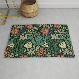 William Morris Compton Floral Art Nouveau Pattern Rug