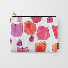 """Berry Happy!"" Strawberry Raspberry Illustration Fruits Pattern Kitchen Decor Food Carry-All Pouch"