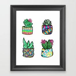 Pattern Succulents Framed Art Print
