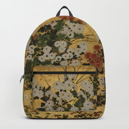White Red Chrysanthemums Floral Japanese Gold Screen Backpack