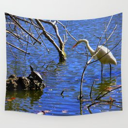 Egret and Turtle: Opposites Attract (Chicago North Pond Collection) Wall Tapestry