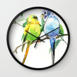 Budgies, Animal art, love, two birds bird artwork, bird pet Wall Clock