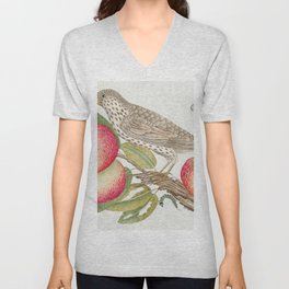 The 18th century  of a brown bird on apple branch with caterpillar Unisex V-Neck