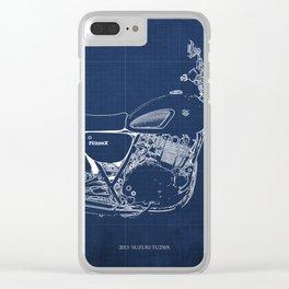 24-2013 Suzuki TU250X BLUE, Bike blueprint, gift for man Clear iPhone Case