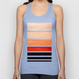 Brown Minimalist Watercolor Mid Century Staggered Stripes Rothko Color Block Geometric Art Unisex Tank Top
